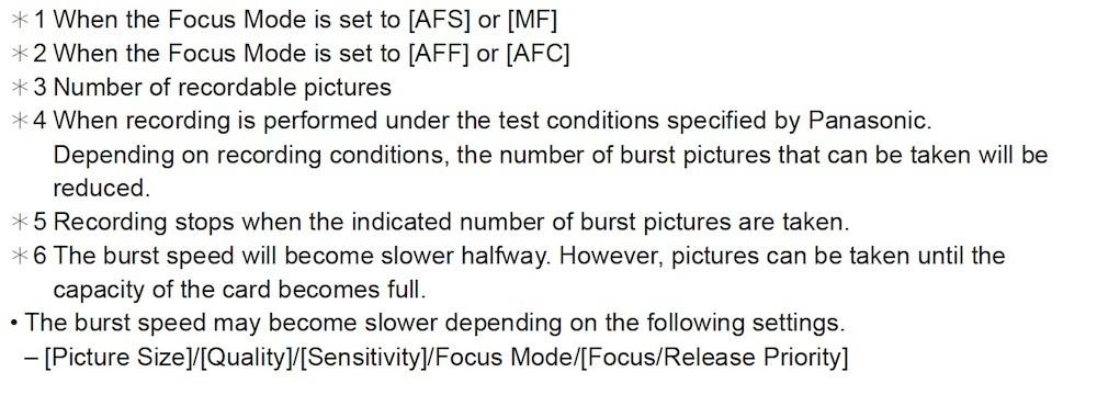 Lumix G9 Burst modes