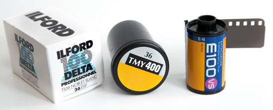 Photos of film canisters showing the ISO
